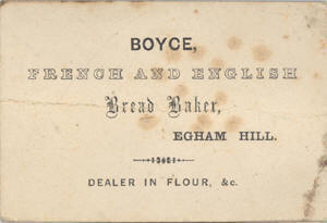 Boyce Bakers Egham Hilll business card